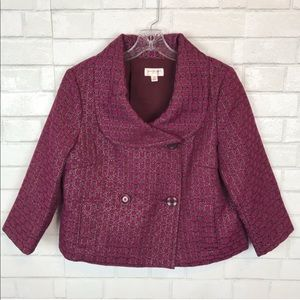 Isaac Mizrahi blazer jacket coat pink metallic A03